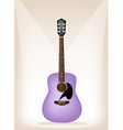 Beautiful Purple Guitar on Brown Stage Background vector image vector image