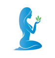 beautiful woman holding a plant ina a palm heath vector image vector image