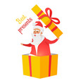 best presents from santa claus on white background vector image vector image
