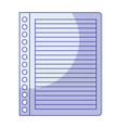 blue shading silhouette of striped notebook sheet vector image vector image