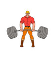 buffed lumberjack lifting weights cartoon vector image vector image