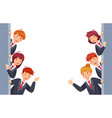 business people look out from both sides young vector image vector image