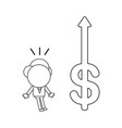 businessman character surprised at dollar symbol vector image