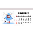 calendar page 2021 horizontal with bulls vector image vector image