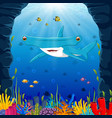 cartoon shark under the sea vector image vector image