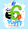 children 6th birthday greeting card vector image