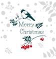 Christmas card with bullfinch and rowan branch vector image vector image