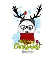 christmas panda in the costume of deer vector image vector image