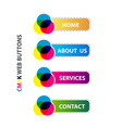 cmyk web buttons interface set vector image vector image