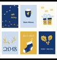 collection of 6 holiday card templates christmas vector image