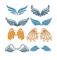 company name logo emblem with blue angel wing vector image vector image