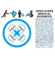Copter Icon with 1000 Medical Business Symbols vector image vector image