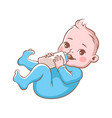 cute baby boy with bottle milk vector image
