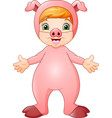 cute girl cartoon wearing pig costume vector image vector image