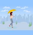 cute girl walking with umbrella in her hand vector image