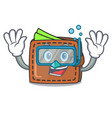 diving wallet character cartoon style vector image
