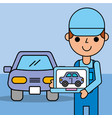 employee expert holding computer diagnostic car vector image vector image