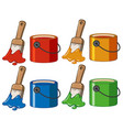 four color in buckets and paintbrushes vector image vector image