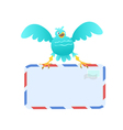 Funny Blue Bird carrying mail vector image