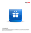 gift box icon - 3d blue button vector image