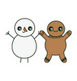 gingerbread man and snowman holding hands merry vector image