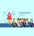 group of business people over flying space rocket vector image vector image