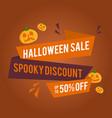 halloween sale banner with pumpkins vector image vector image
