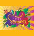 hand drawn hello summer background vector image