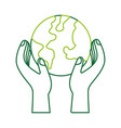 hand holding planet earth ecological environmental vector image vector image