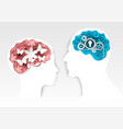 head silhouettes with gears and flowers vector image