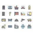 hotel service icon and symbol set in color vector image vector image