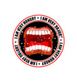i am very hungry logo open mouth and teeth emblem vector image vector image