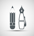 icon pencil and pen vector image