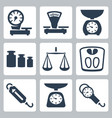 isolated scales balance icons set vector image vector image