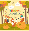 little foxes playing with leaves in autumn forest vector image vector image