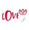 Love label for greeting card Two hearts Grunge vector image