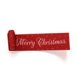 merry christmas scroll red ribbon vector image vector image