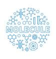 molecule outline blue round vector image vector image