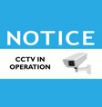 notice cctv in operation blue sign vector image vector image