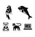 pandapopugay panther dolphinanimal set vector image vector image