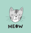 poster with hand drawn funny cat vector image vector image