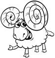 ram animal cartoon character color book vector image vector image