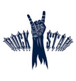 rock hand sign hot music rock and roll gesture vector image