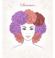 Romantic girl with peonies hair
