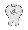 sad funny tooth cartoon character vector image