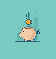 saving with piggy bank and coin vector image