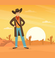 scene wild west with cowboy standing at sunset vector image