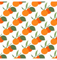 seamless pattern with two tangerines and leaves vector image