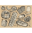 Set of bread and bakery products vector image vector image