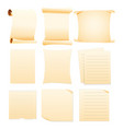 set of collection blank papers vector image
